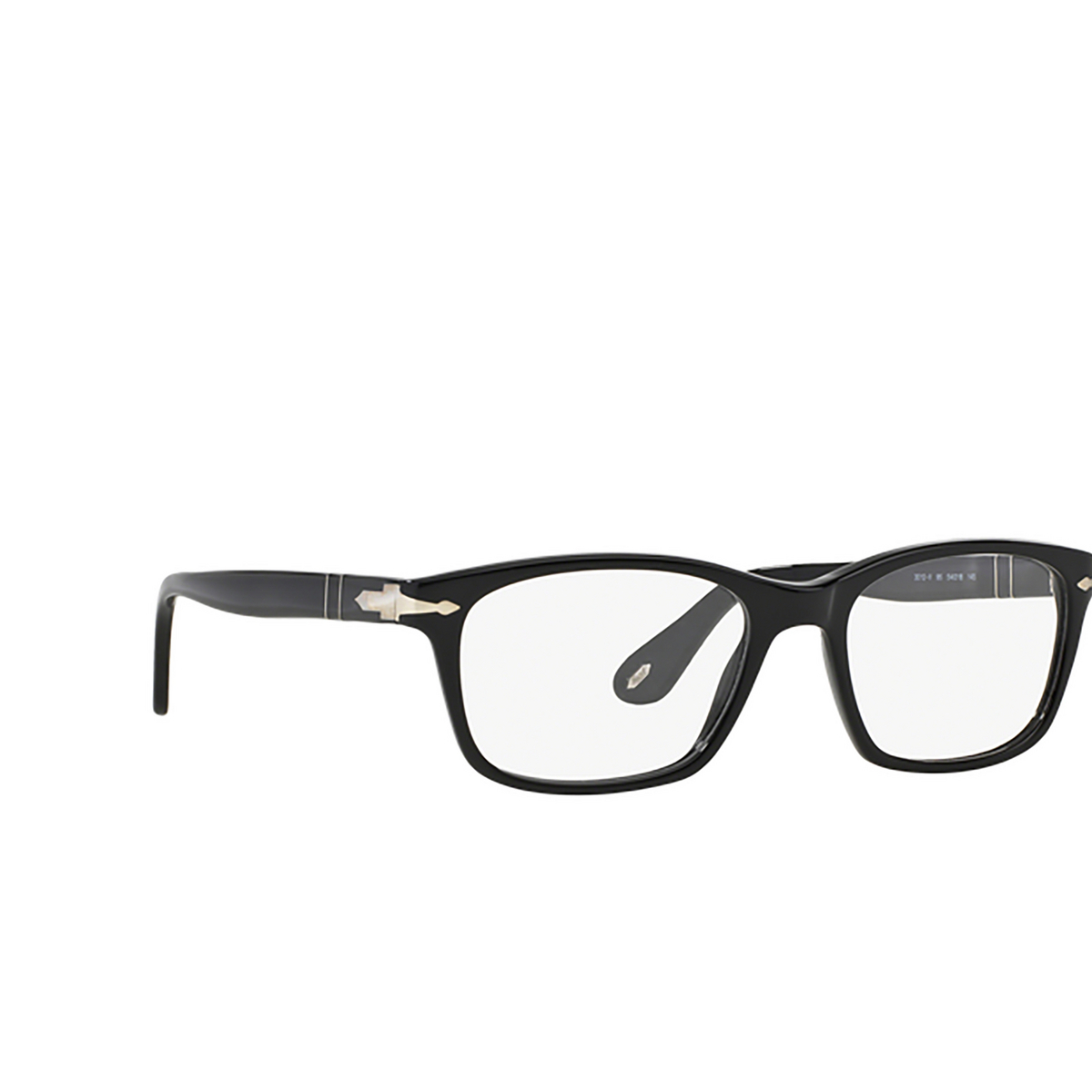 Persol® Square Eyeglasses: PO3012V color Black 95 - three-quarters view.