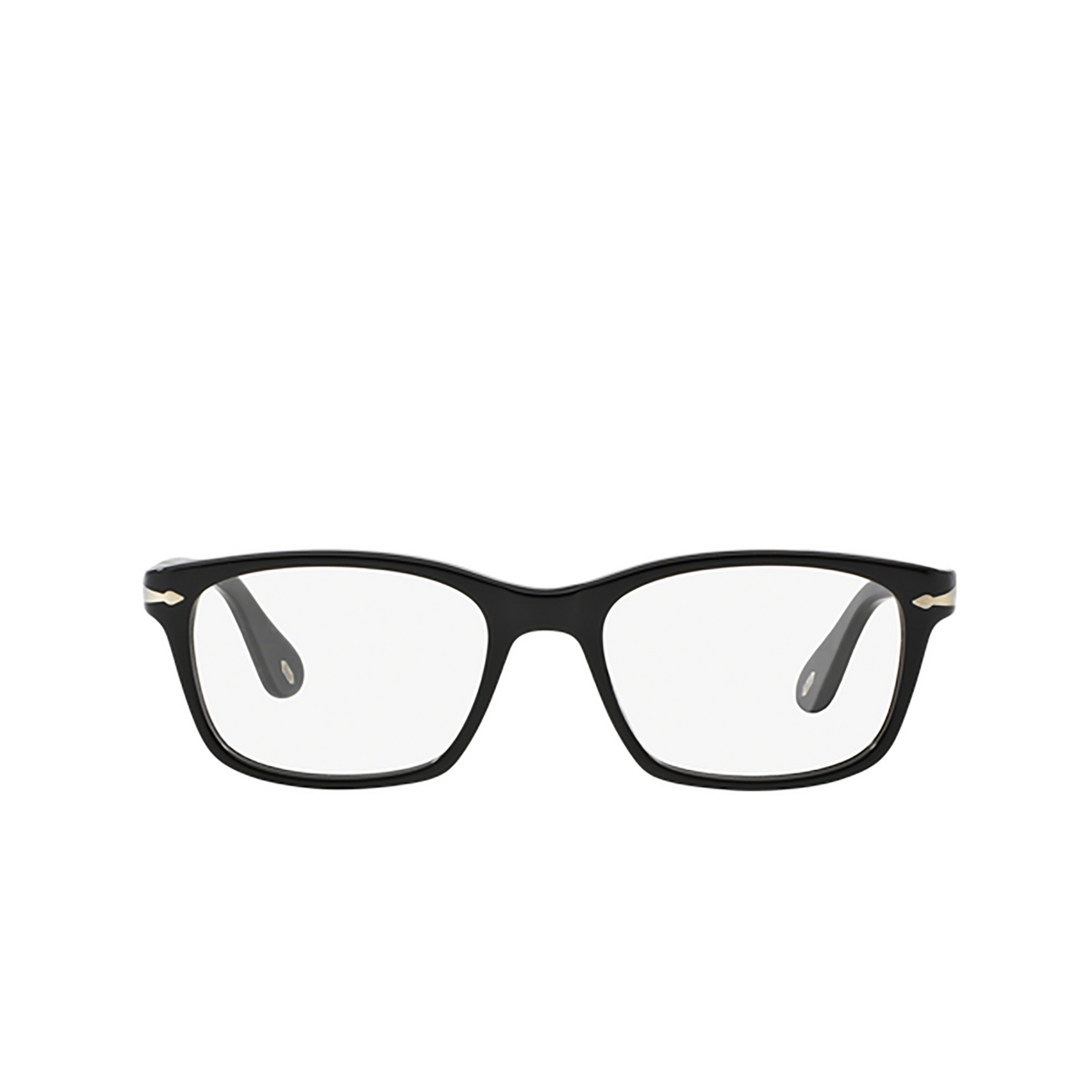 Persol® Square Eyeglasses: PO3012V color Black 95 - front view.