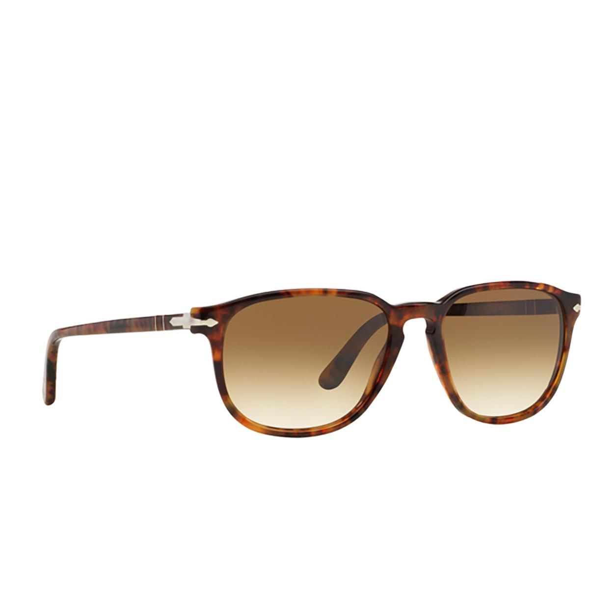 Persol® Square Sunglasses: PO3019S color Coffee 108/51 - three-quarters view.