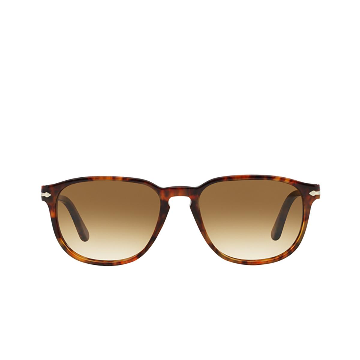 Persol® Square Sunglasses: PO3019S color Coffee 108/51 - front view.