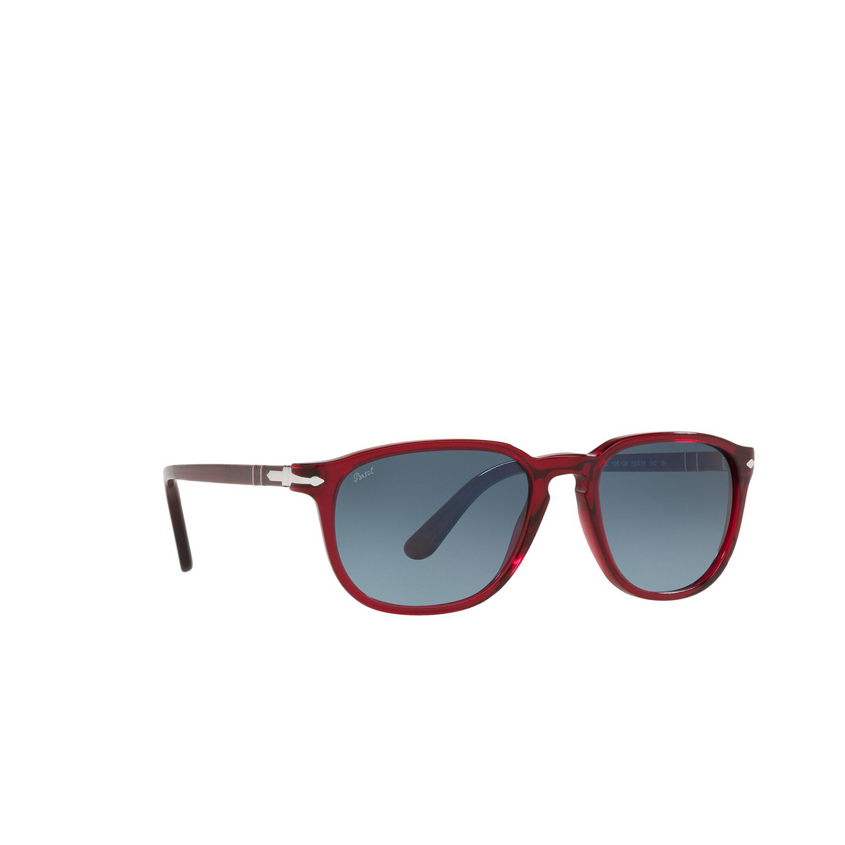 Persol® Square Sunglasses: PO3019S color Transparent Red 126/Q8 - three-quarters view.