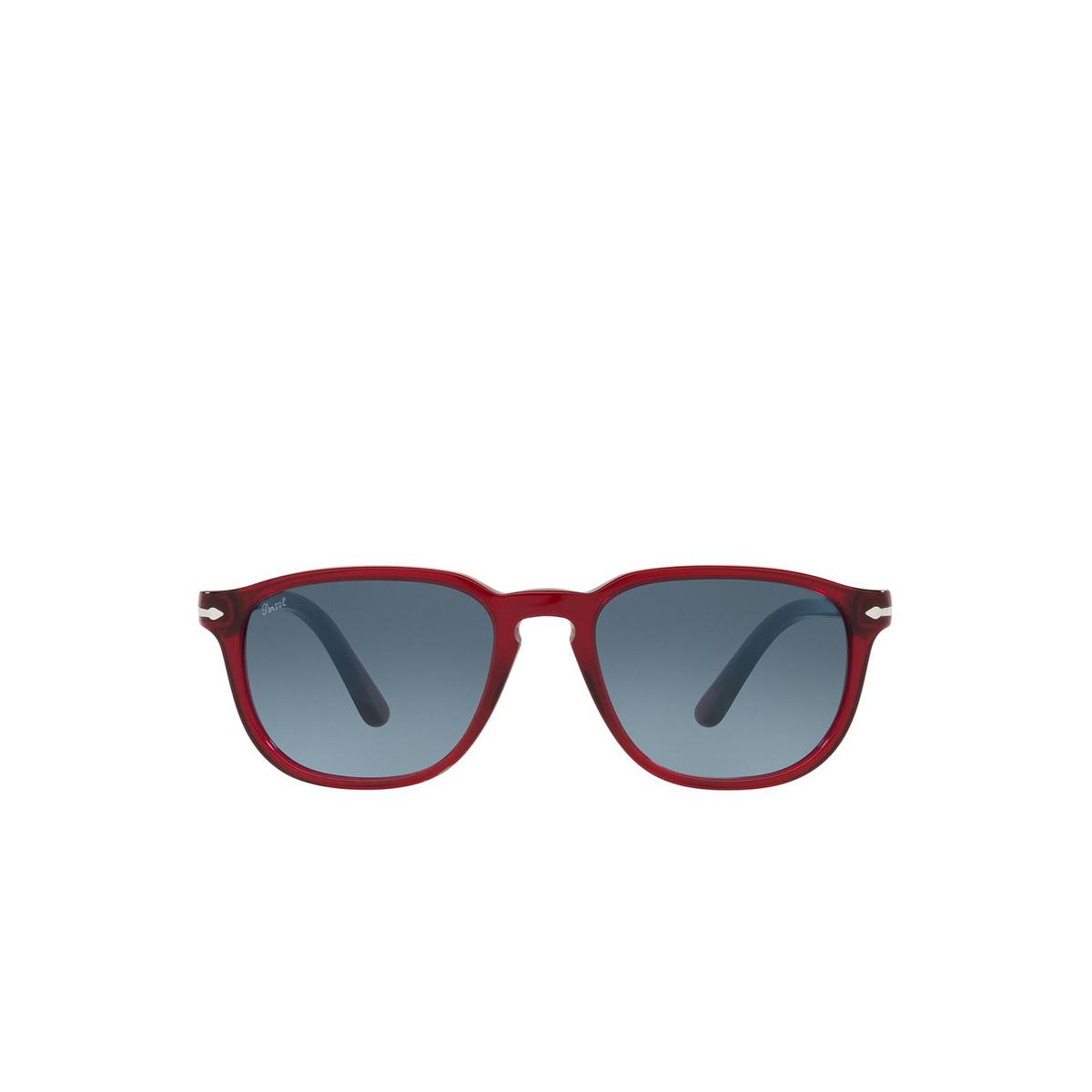 Persol® Square Sunglasses: PO3019S color Transparent Red 126/Q8 - front view.