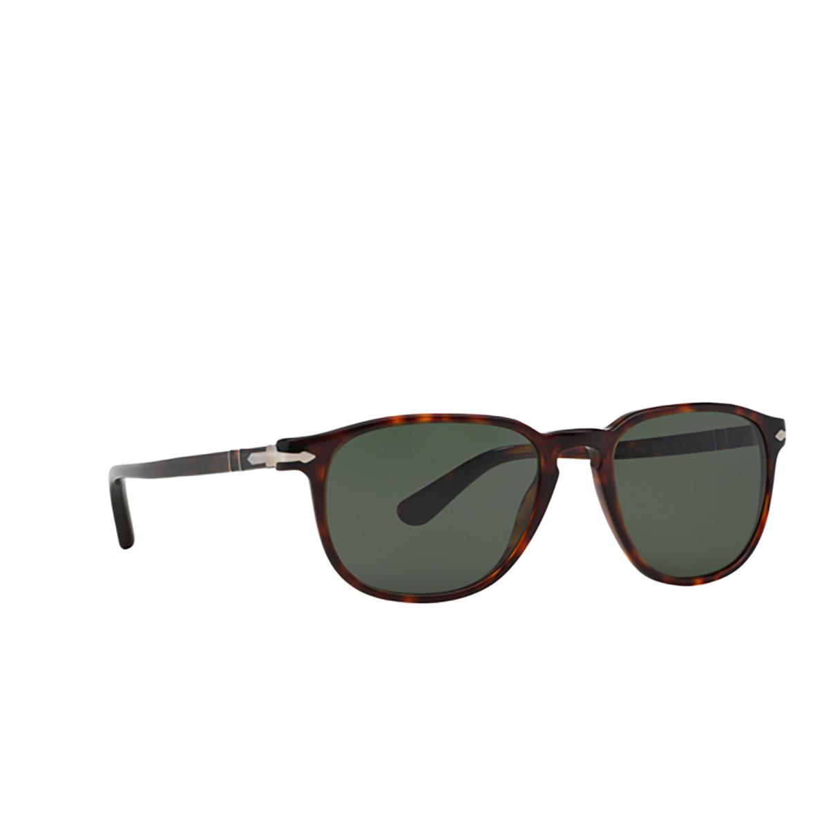 Persol® Square Sunglasses: PO3019S color Havana 24/31 - three-quarters view.