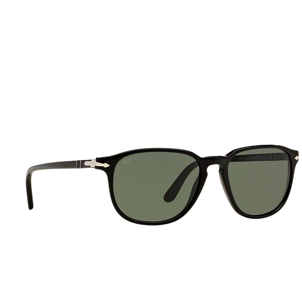 Persol® Square Sunglasses: PO3019S color Black 95/31 - three-quarters view.