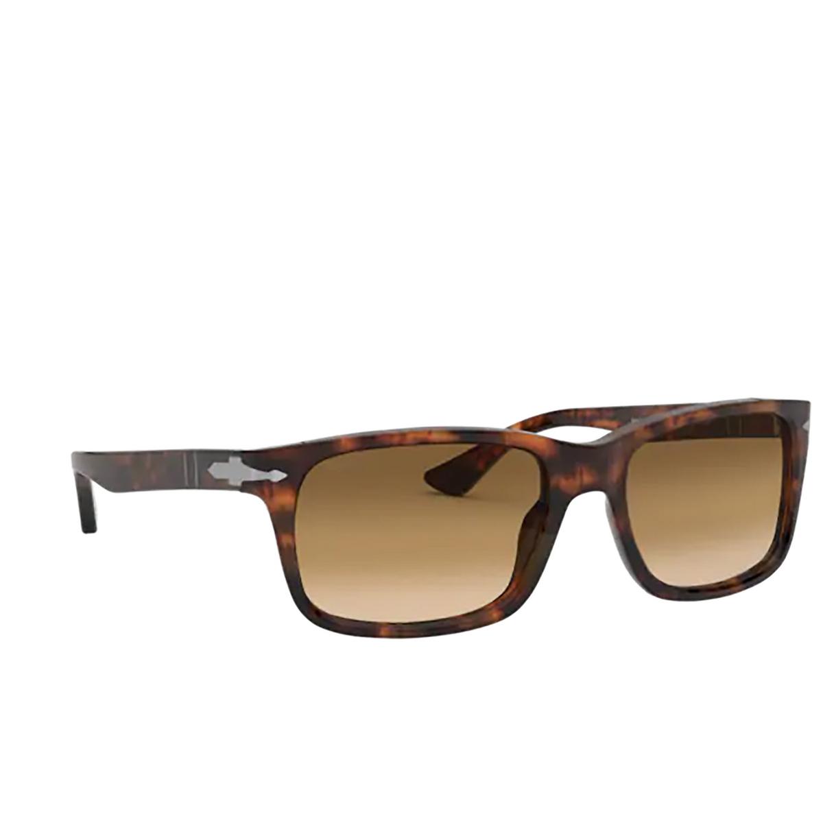 Persol® Rectangle Sunglasses: PO3048S color Coffee 108/51 - three-quarters view.