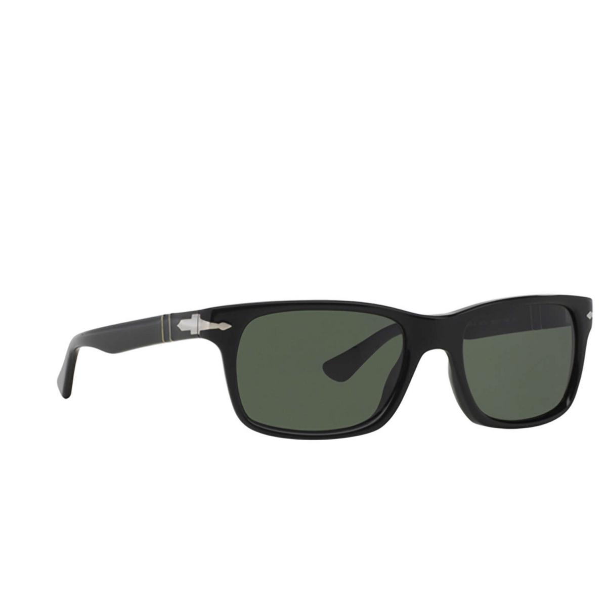 Persol® Rectangle Sunglasses: PO3048S color Black 95/31 - three-quarters view.