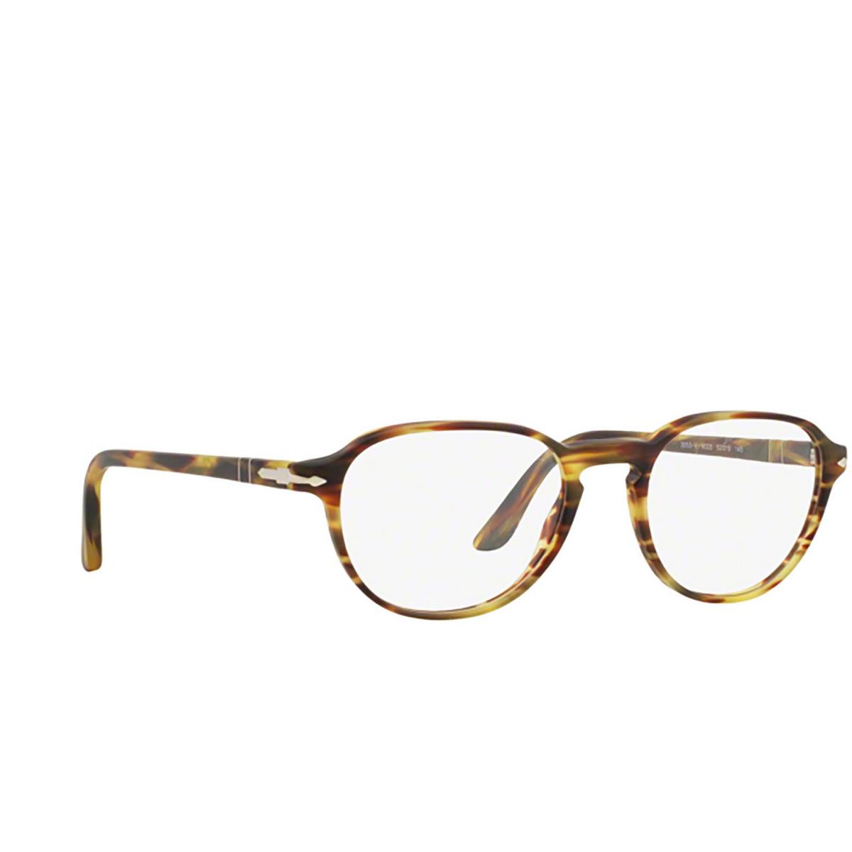Persol® Square Eyeglasses: PO3053V color Havana 24 - three-quarters view.