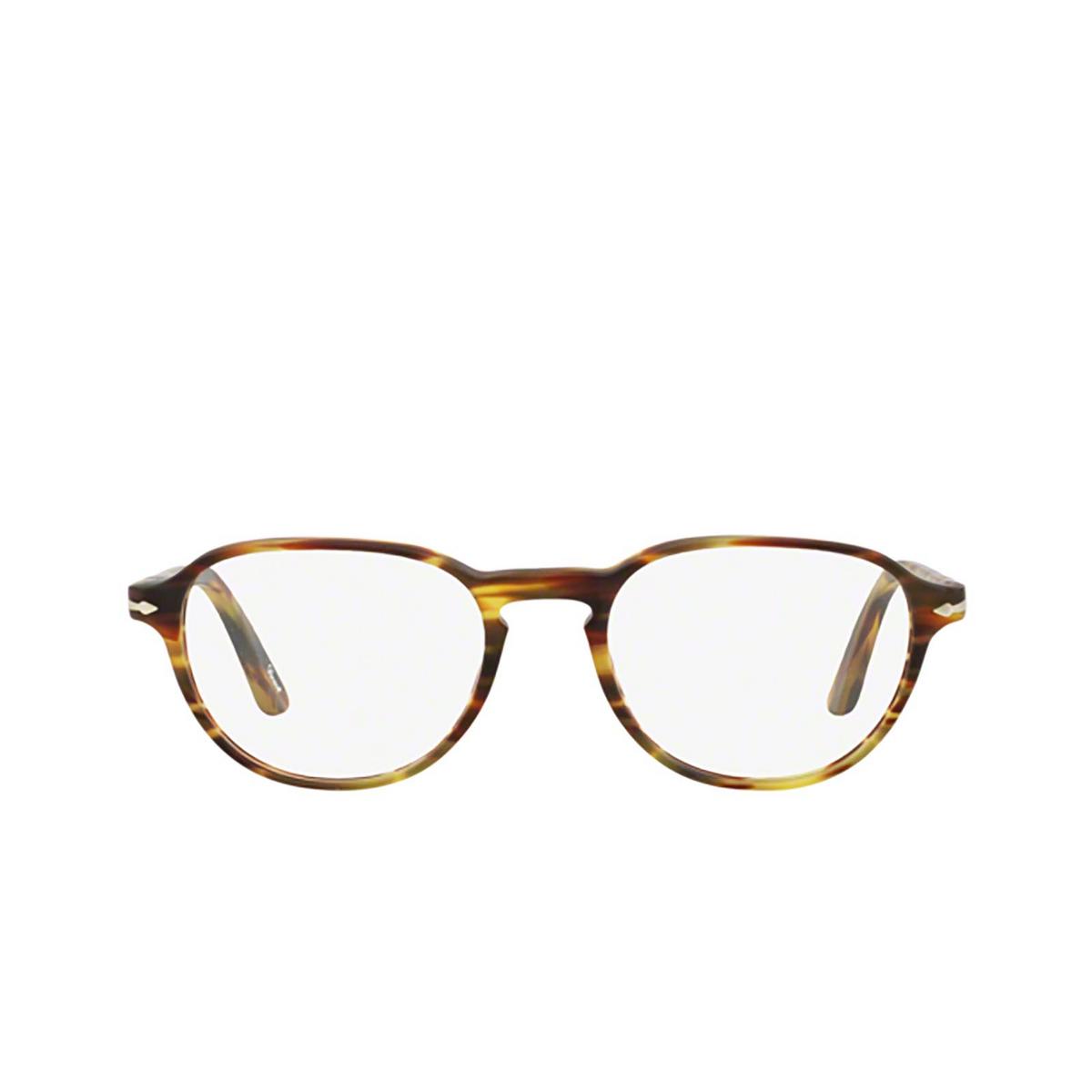 Persol® Square Eyeglasses: PO3053V color Havana 24 - front view.