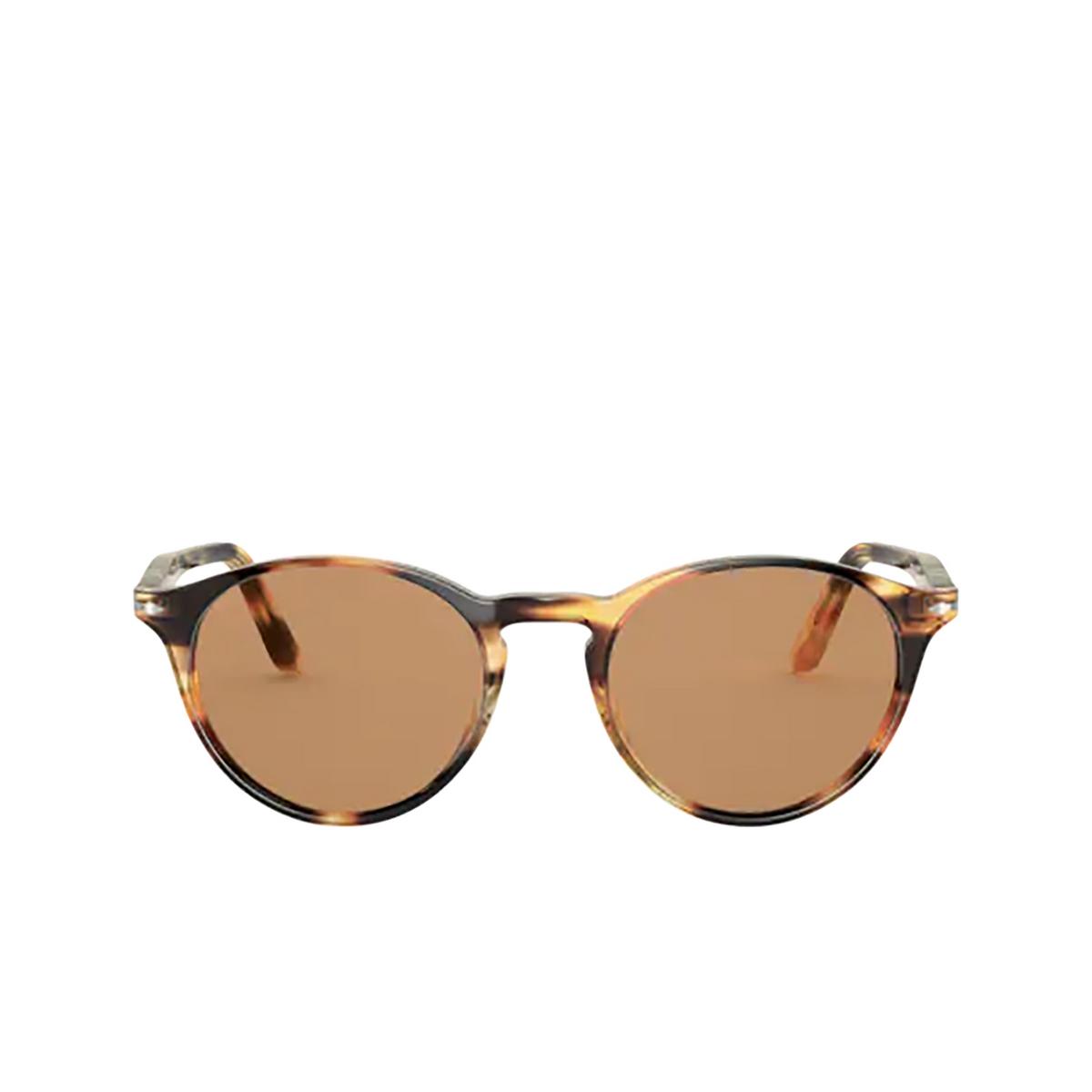 Persol® Round Sunglasses: PO3092SM color Striped Honey 112353.