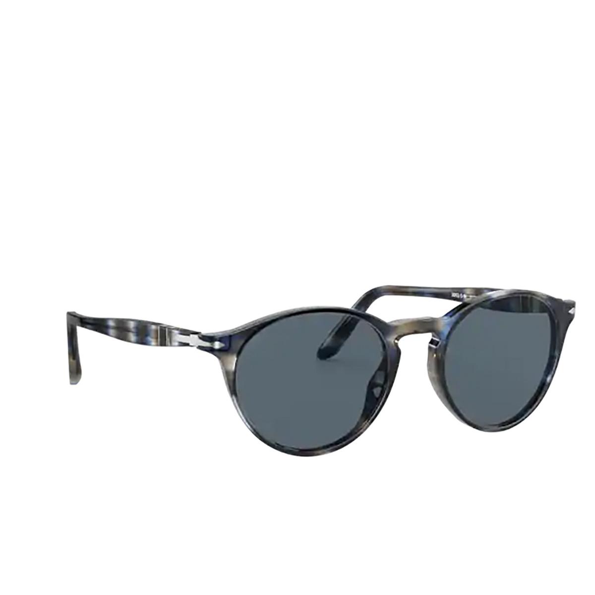 Persol® Round Sunglasses: PO3092SM color Striped Blue & Grey 1126R5 - three-quarters view.