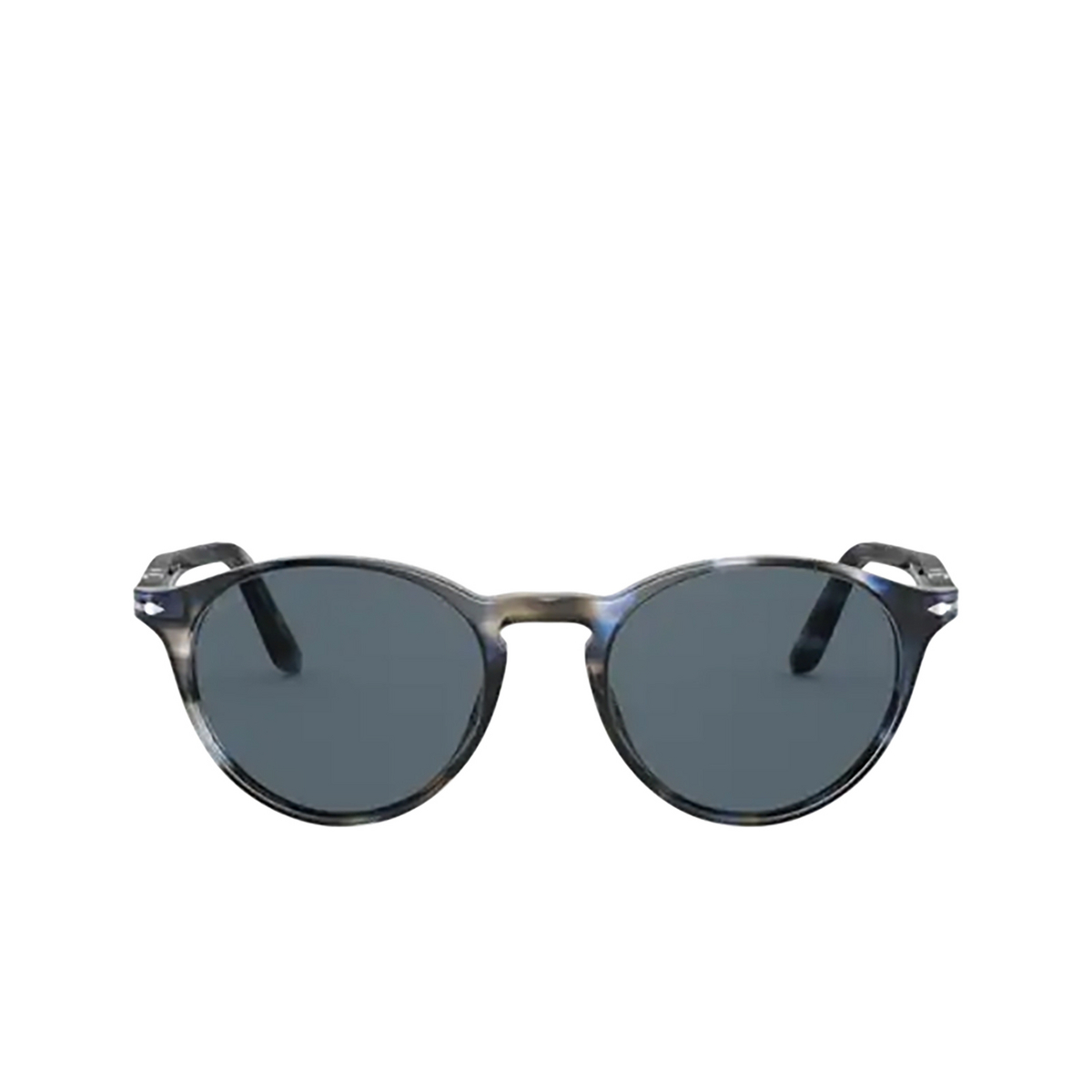 Persol® Round Sunglasses: PO3092SM color Striped Blue & Grey 1126R5 - front view.