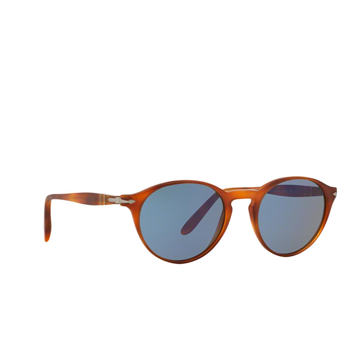 Persol® Round Sunglasses: PO3092SM color Terra Di Siena 900656 - three-quarters view.
