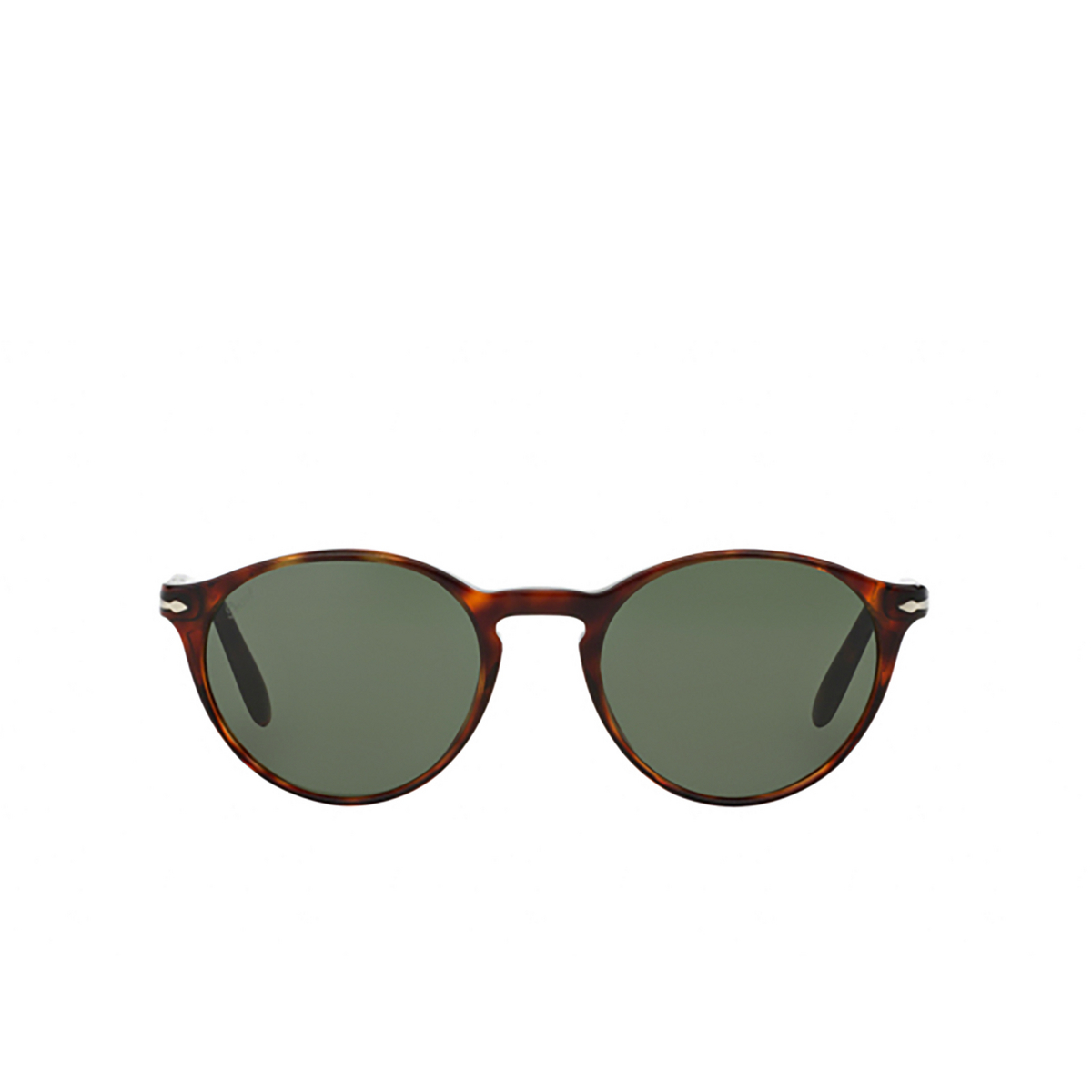 Persol® Round Sunglasses: PO3092SM color Havana 901531 - front view.