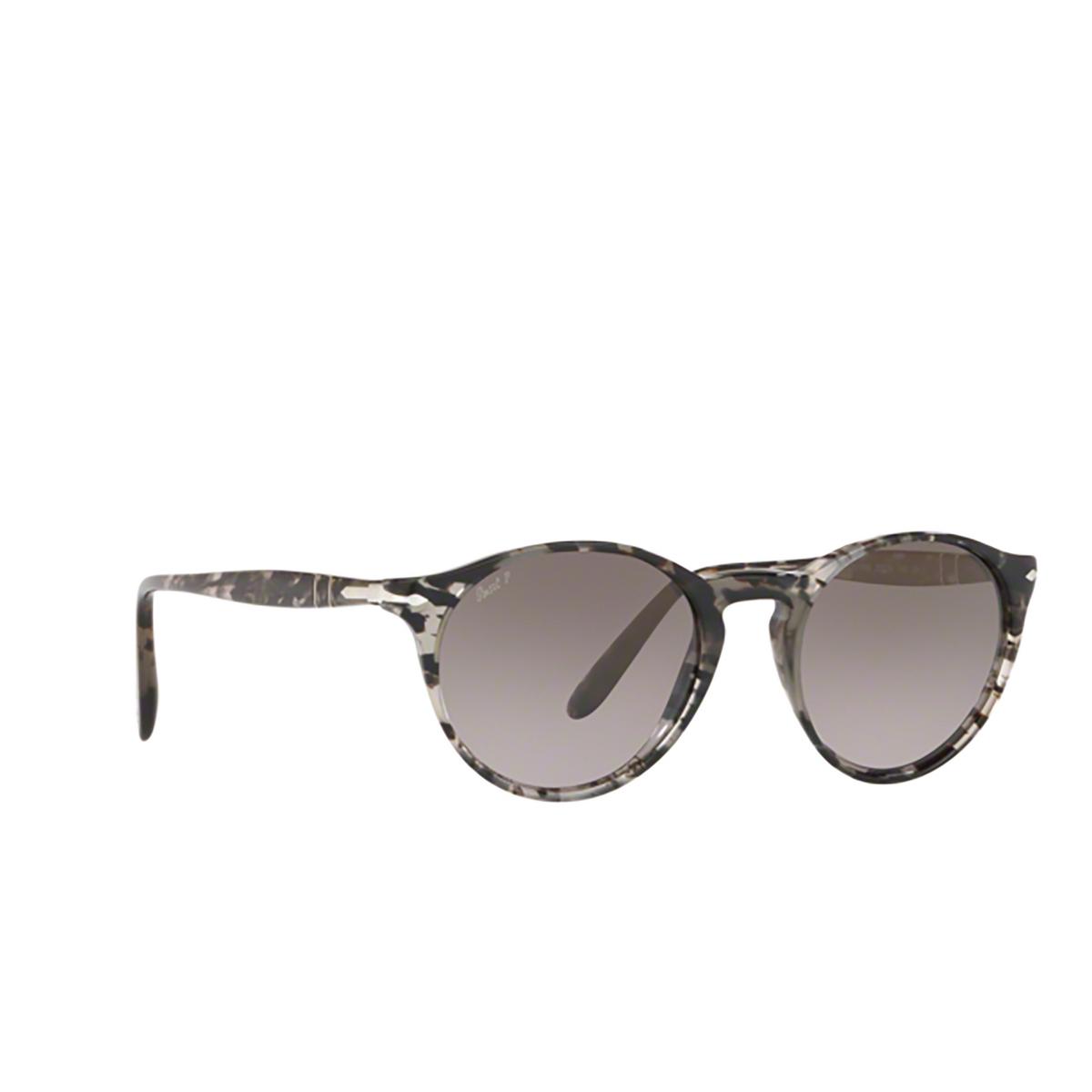 Persol® Round Sunglasses: PO3092SM color Grey Tortoise 9057M3 - three-quarters view.