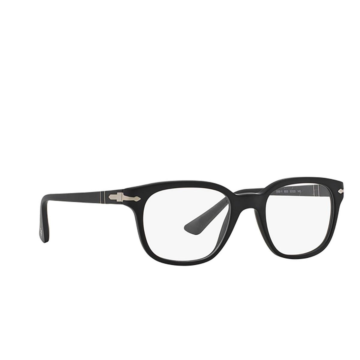 Persol® Square Eyeglasses: PO3093V color Black 9000 - three-quarters view.
