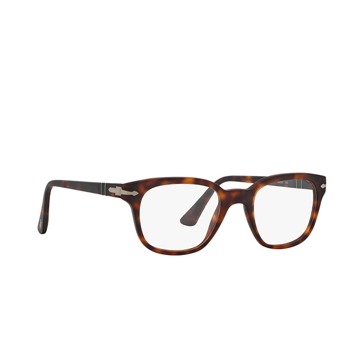Persol® Square Eyeglasses: PO3093V color Havana 9001 - three-quarters view.
