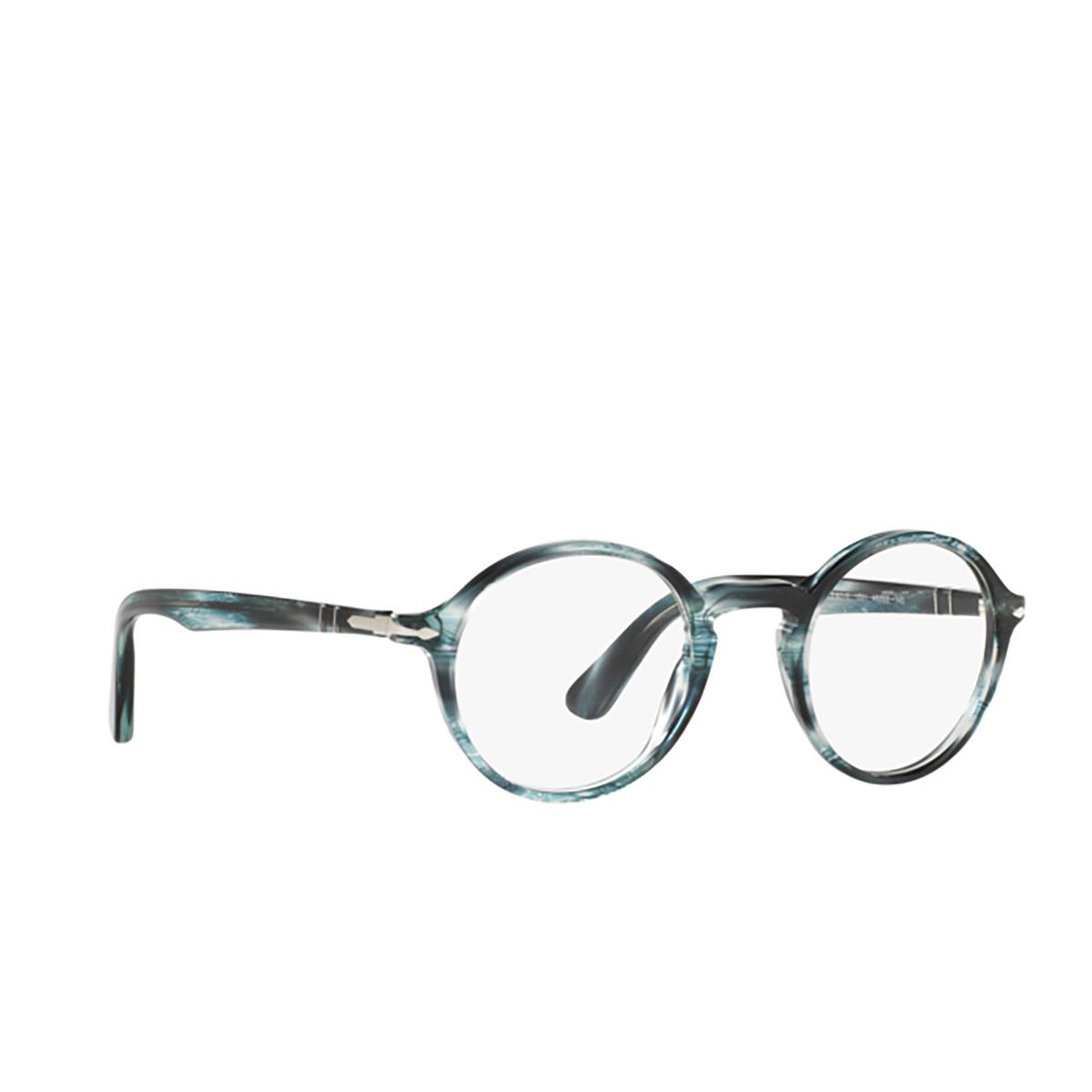Persol® Round Eyeglasses: PO3141V color Striped Grey 1051 - three-quarters view.