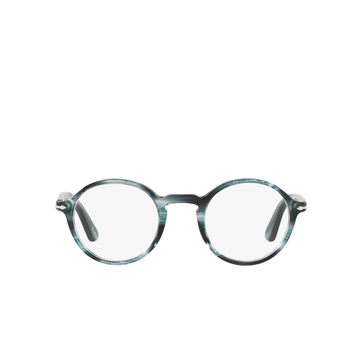 Persol® Round Eyeglasses: PO3141V color Striped Grey 1051 - front view.