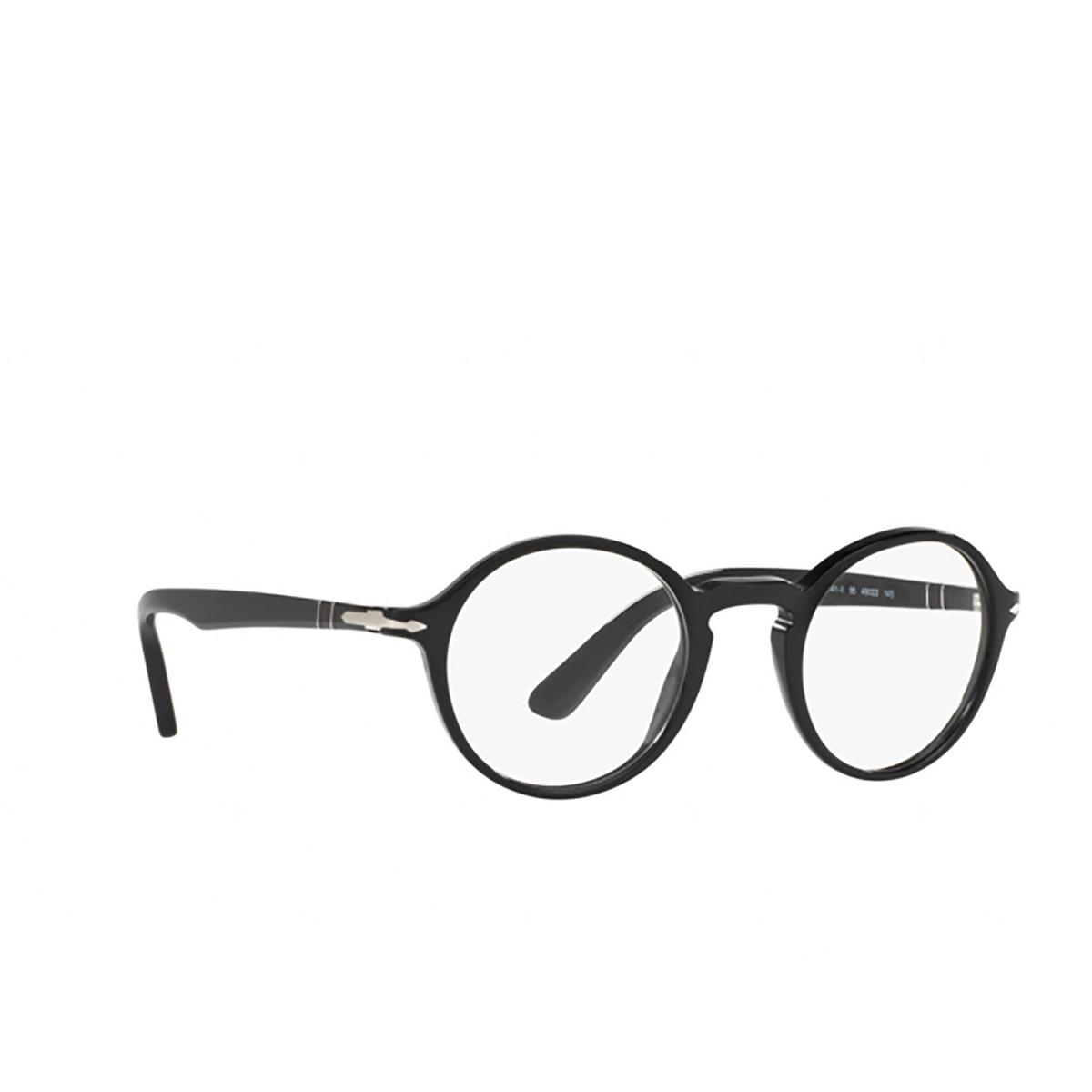 Persol® Round Eyeglasses: PO3141V color Black 95 - three-quarters view.
