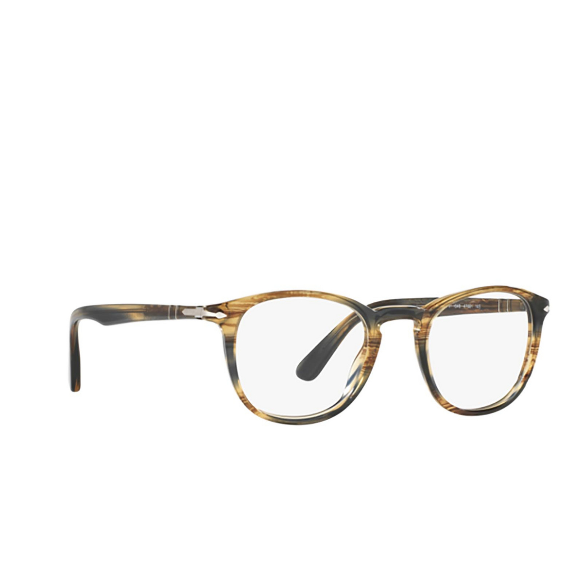 Persol® Square Eyeglasses: PO3143V color Striped Brown Grey 1049 - three-quarters view.