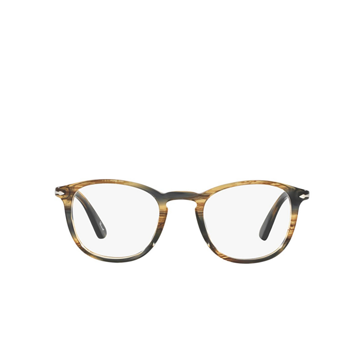Persol® Square Eyeglasses: PO3143V color Striped Brown Grey 1049 - front view.
