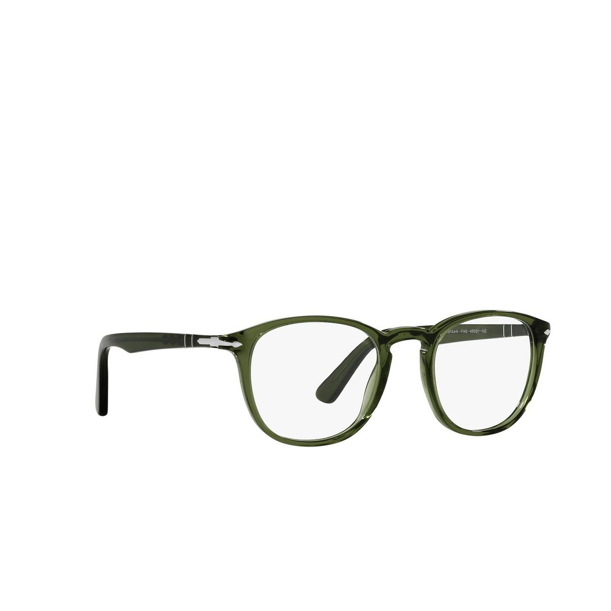 Persol® Square Eyeglasses: PO3143V color Olive Green Transparent 1142 - three-quarters view.