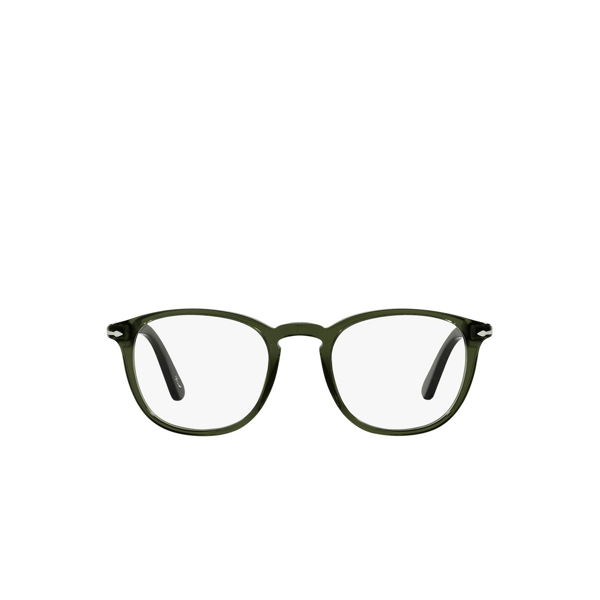 Persol® Square Eyeglasses: PO3143V color Olive Green Transparent 1142 - front view.