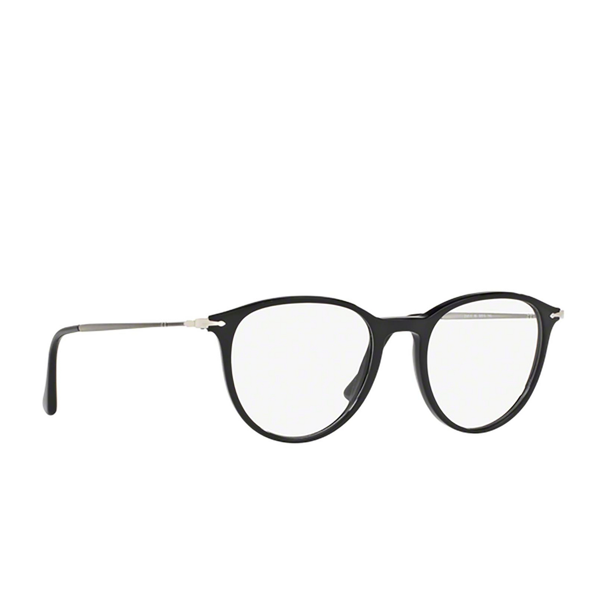 Persol® Rectangle Eyeglasses: PO3147V color Black 95 - three-quarters view.