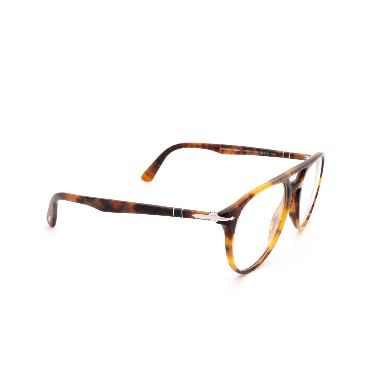 Persol® Aviator Eyeglasses: PO3160V color Havana 108 - three-quarters view.
