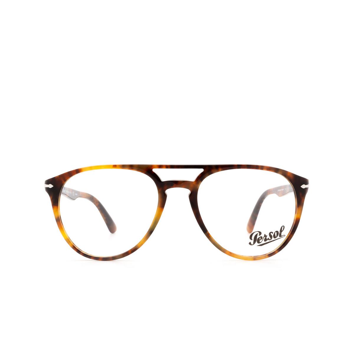 Persol® Aviator Eyeglasses: PO3160V color Havana 108 - front view.