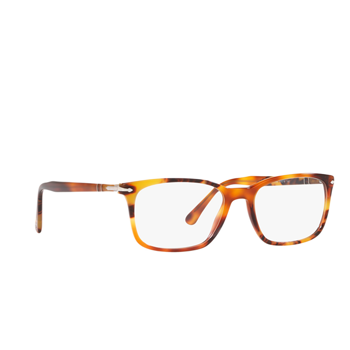 Persol® Square Eyeglasses: PO3189V color Brown Tortoise 1082 - three-quarters view.
