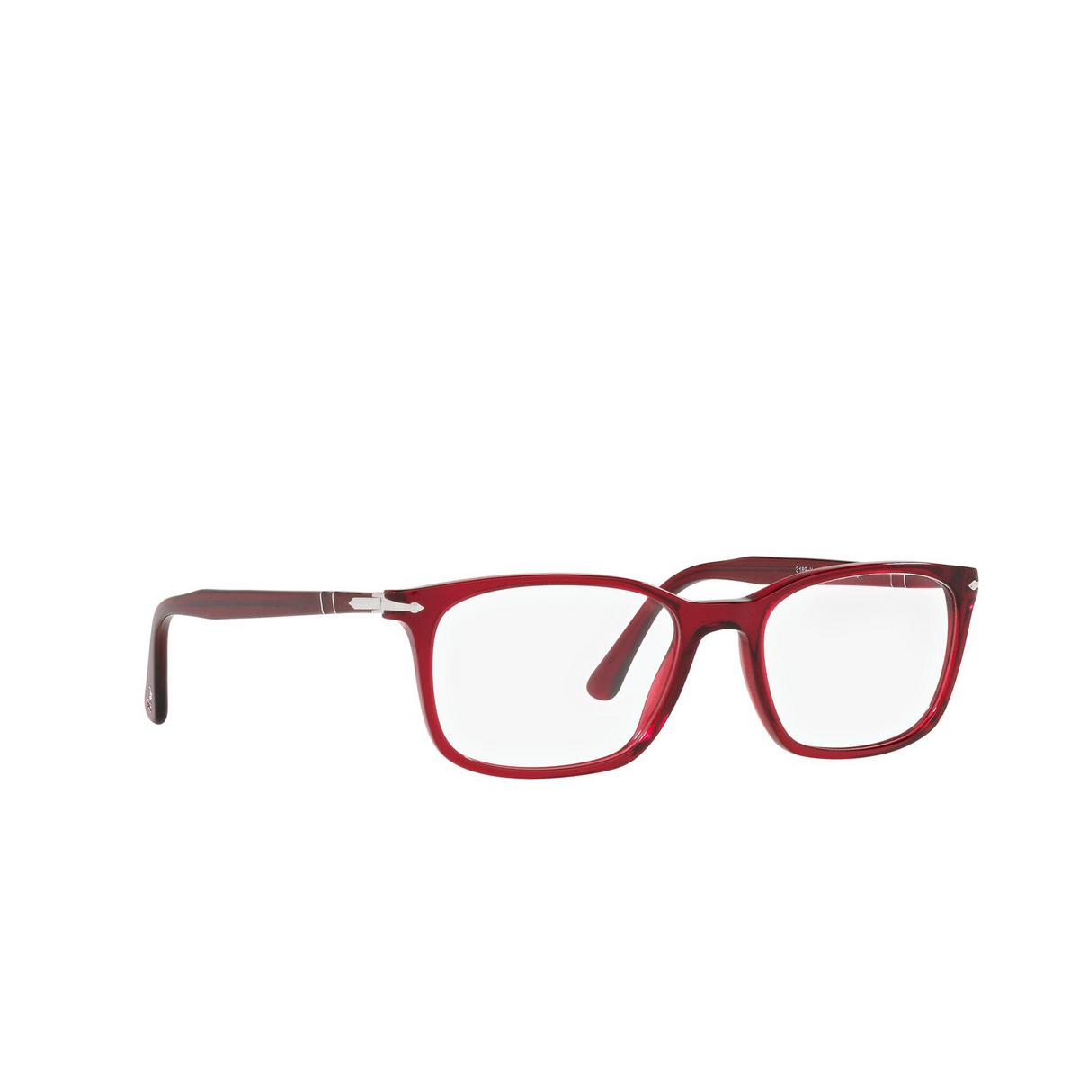 Persol® Rectangle Eyeglasses: PO3189V color Transparent Red 126 - three-quarters view.