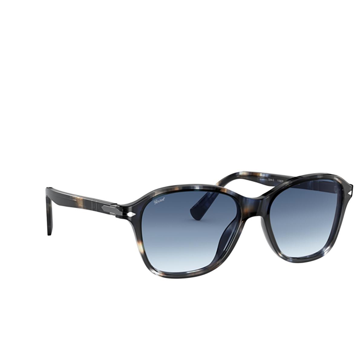 Persol® Square Sunglasses: PO3244S color Striped Blue & Grey 112632 - three-quarters view.