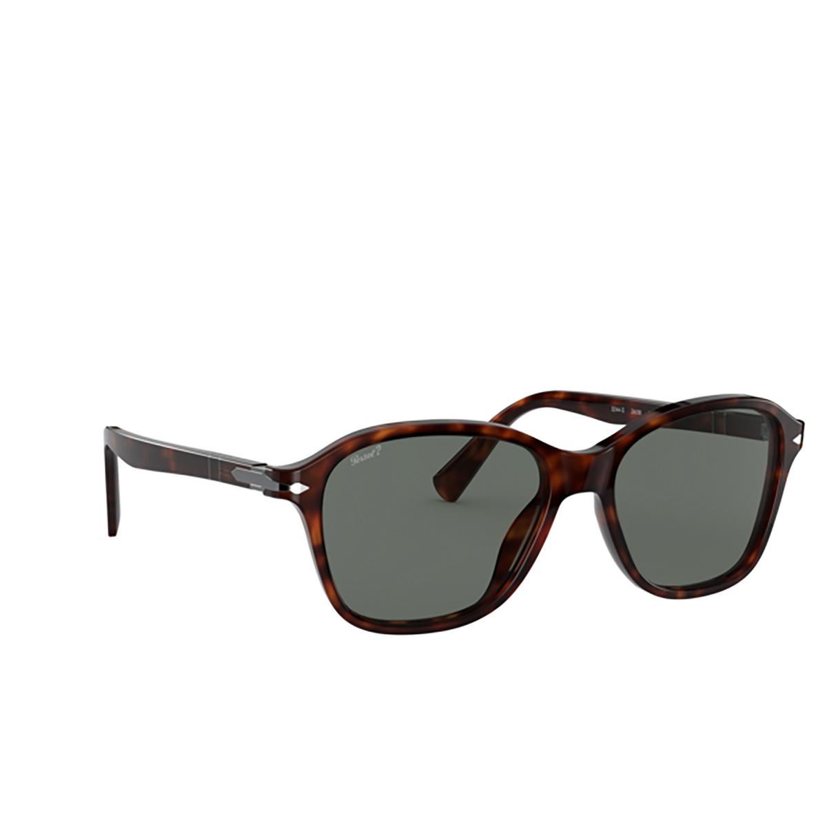 Persol® Square Sunglasses: PO3244S color Havana 24/58 - three-quarters view.