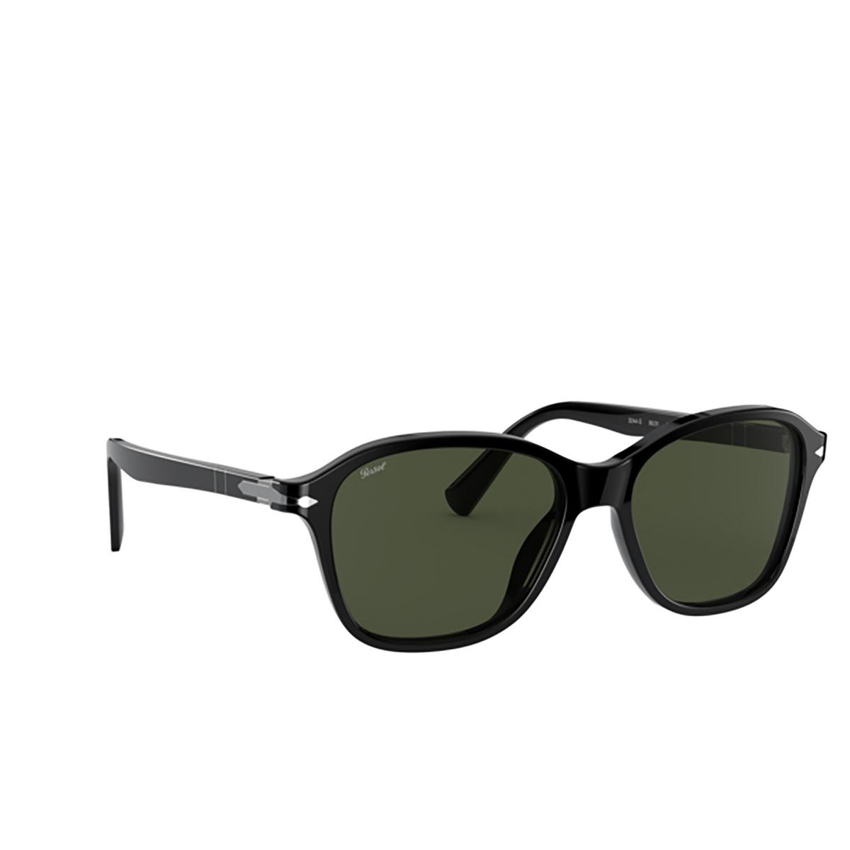 Persol® Square Sunglasses: PO3244S color Black 95/31 - three-quarters view.