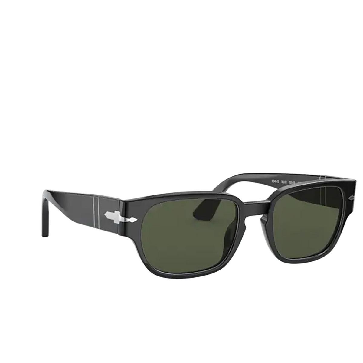 Persol® Irregular Sunglasses: PO3245S color Black 95/31 - three-quarters view.