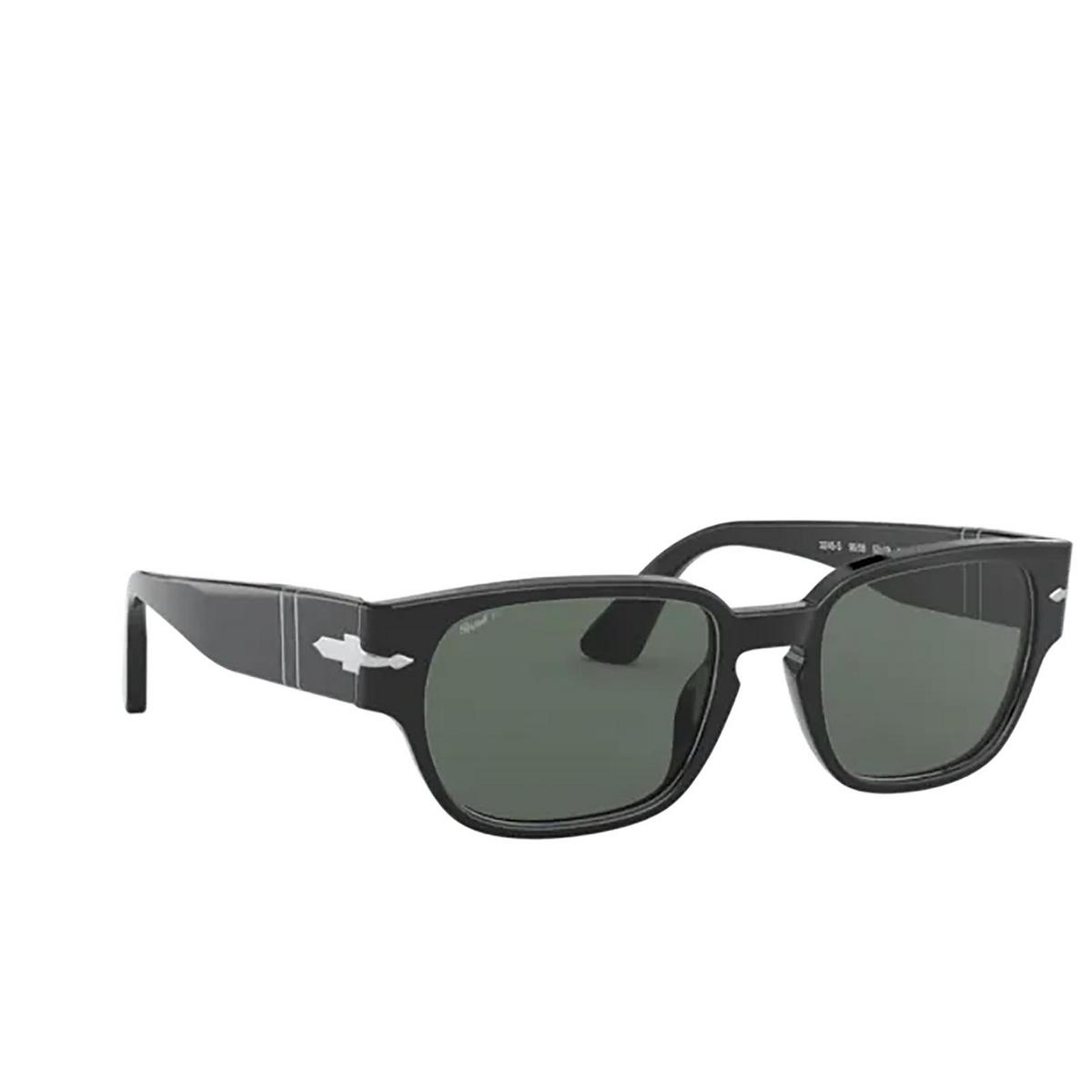 Persol® Rectangle Sunglasses: PO3245S color Black 95/58 - three-quarters view.