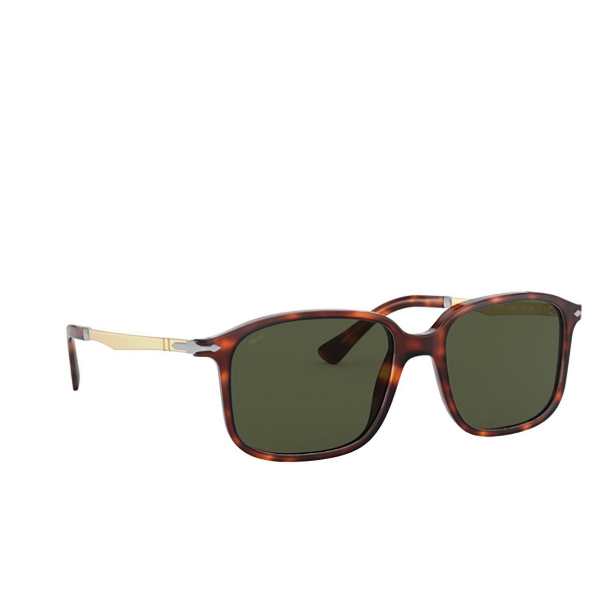Persol® Rectangle Sunglasses: PO3246S color Havana 24/31 - three-quarters view.