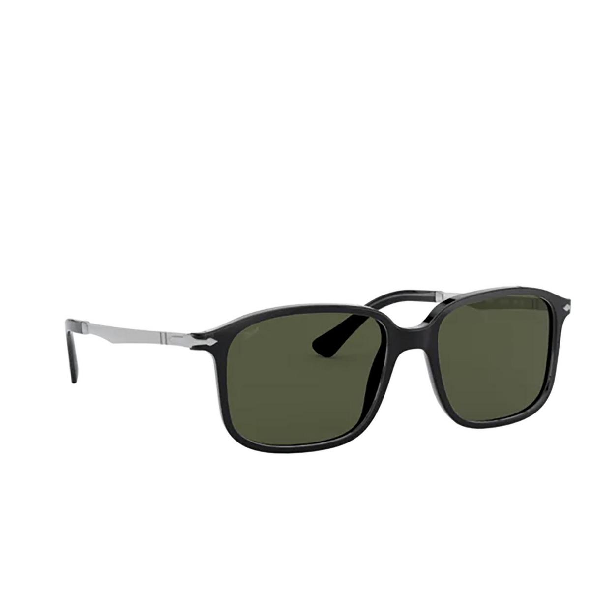 Persol® Rectangle Sunglasses: PO3246S color Black 95/31 - three-quarters view.