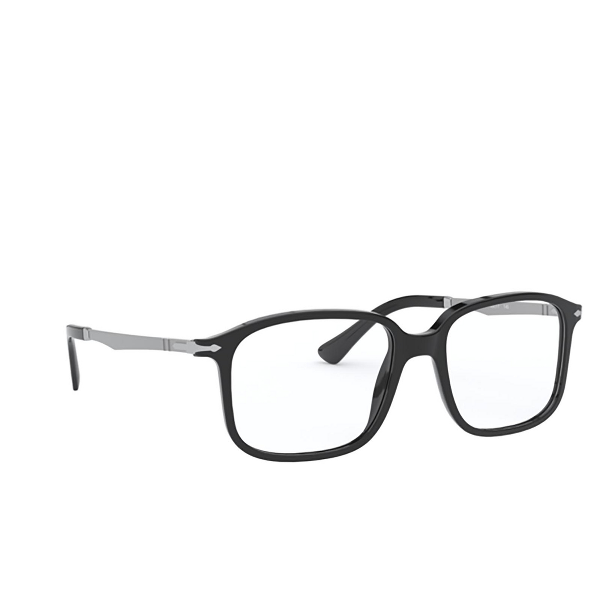 Persol® Rectangle Eyeglasses: PO3246V color Black 95 - three-quarters view.