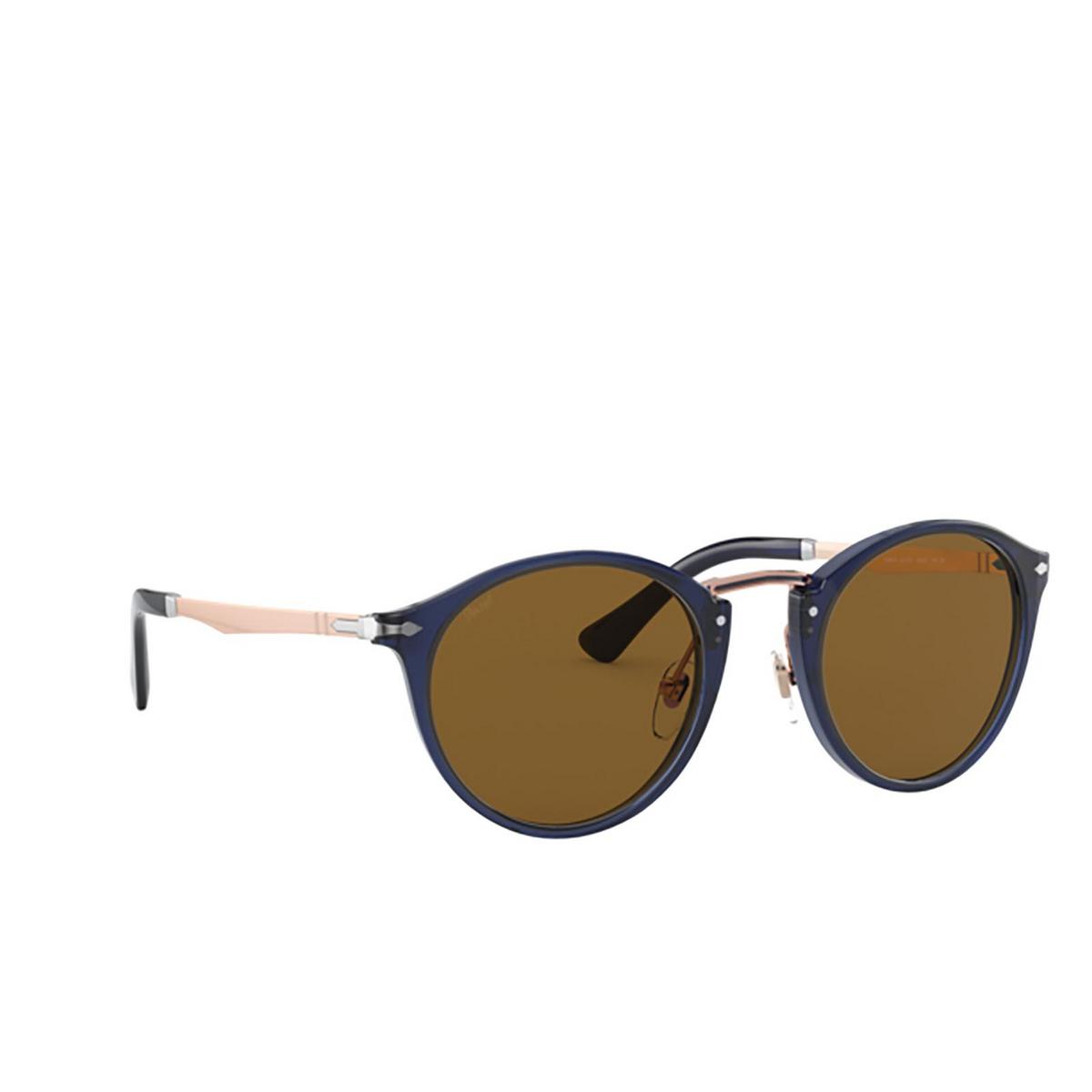 Persol® Round Sunglasses: PO3248S color Cobalto & Bronze 181/53 - three-quarters view.