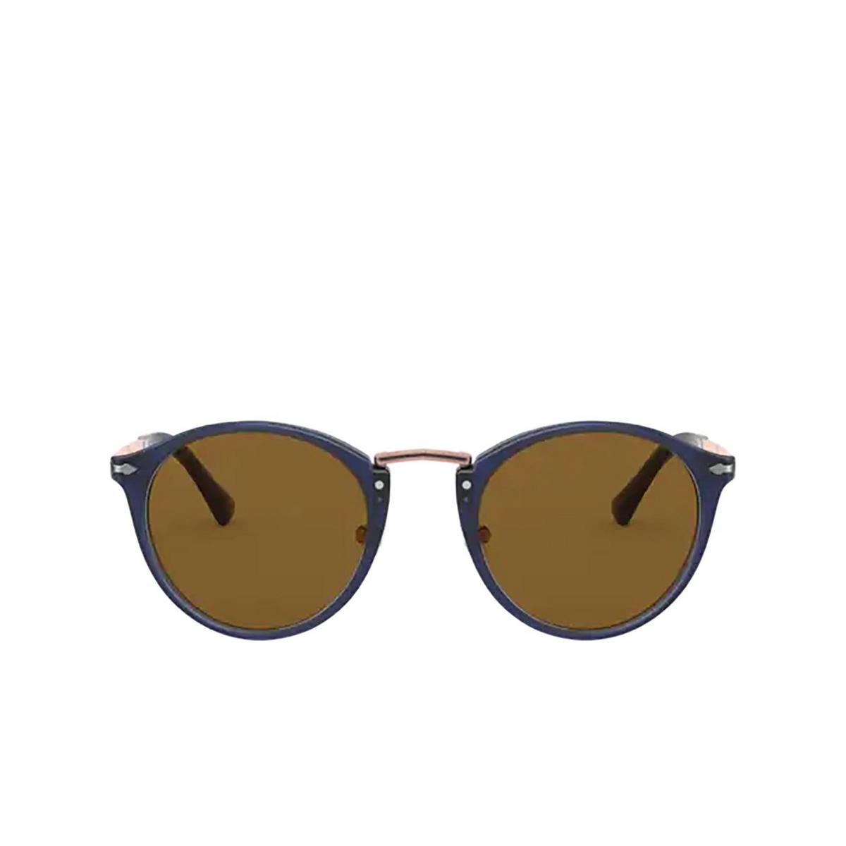 Persol® Round Sunglasses: PO3248S color Cobalto & Bronze 181/53 - front view.