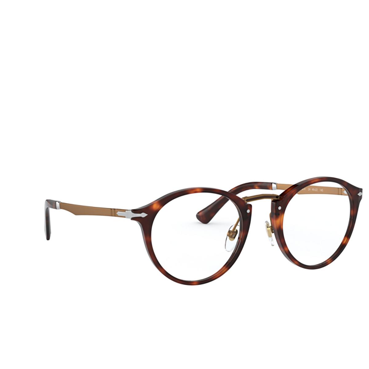 Persol® Round Eyeglasses: PO3248V color Havana 24 - three-quarters view.