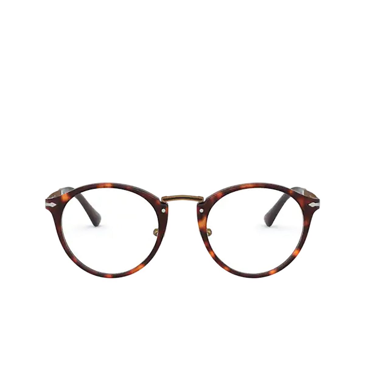 Persol® Round Eyeglasses: PO3248V color Havana 24 - front view.