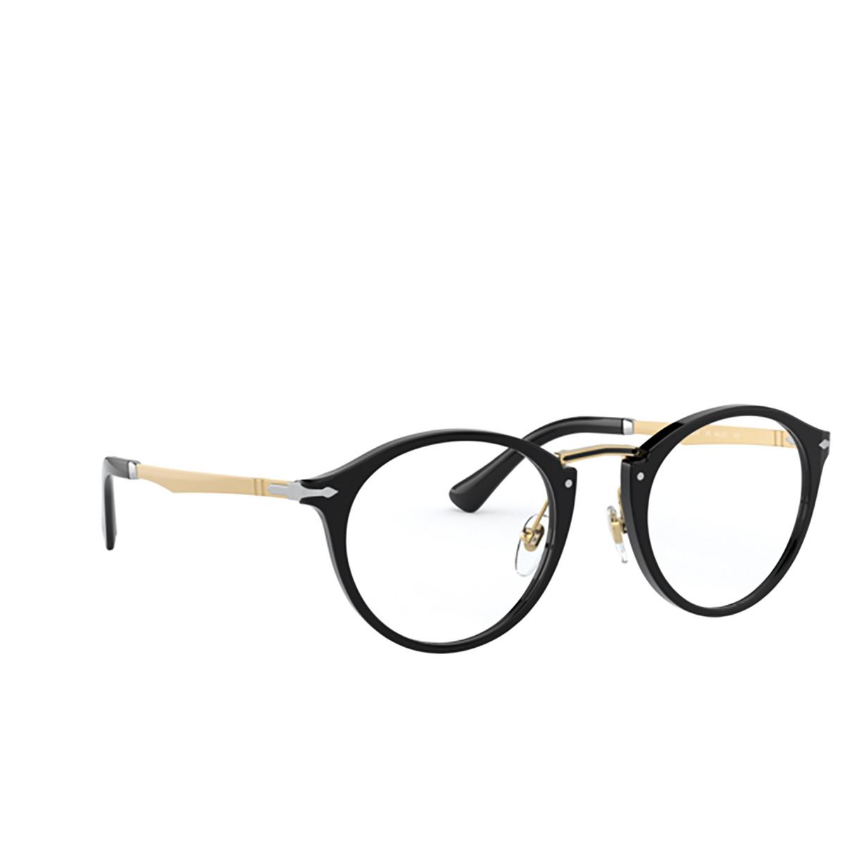 Persol® Round Eyeglasses: PO3248V color Black 95 - three-quarters view.