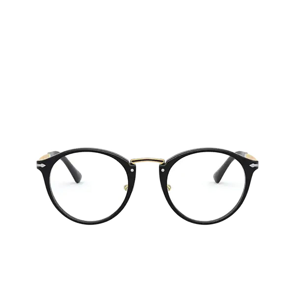 Persol® Round Eyeglasses: PO3248V color Black 95 - front view.