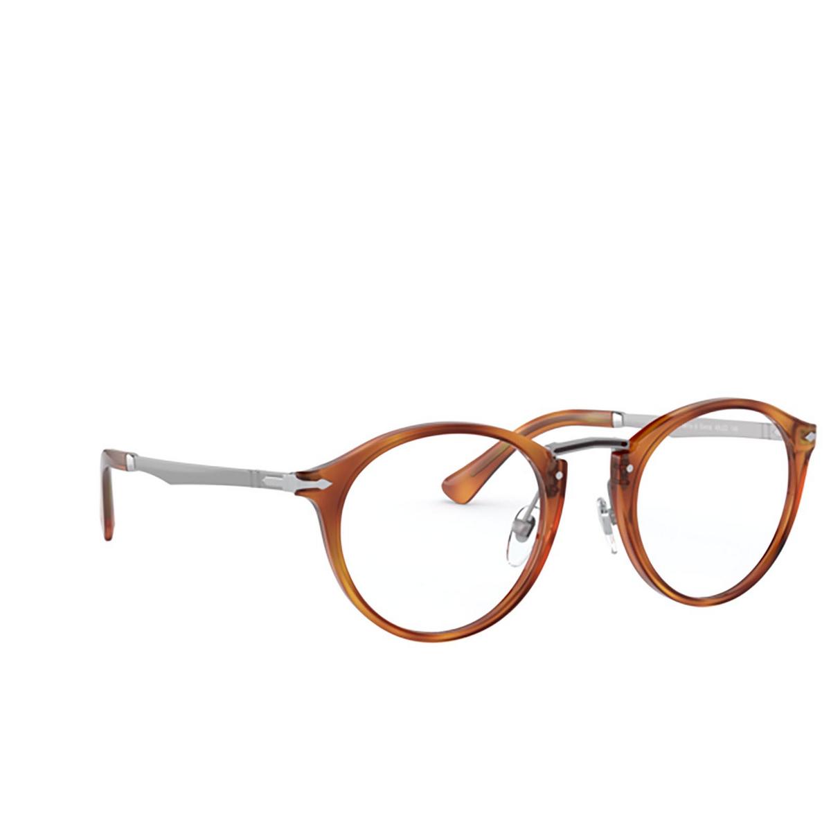 Persol® Round Eyeglasses: PO3248V color Terra Di Siena 96 - three-quarters view.