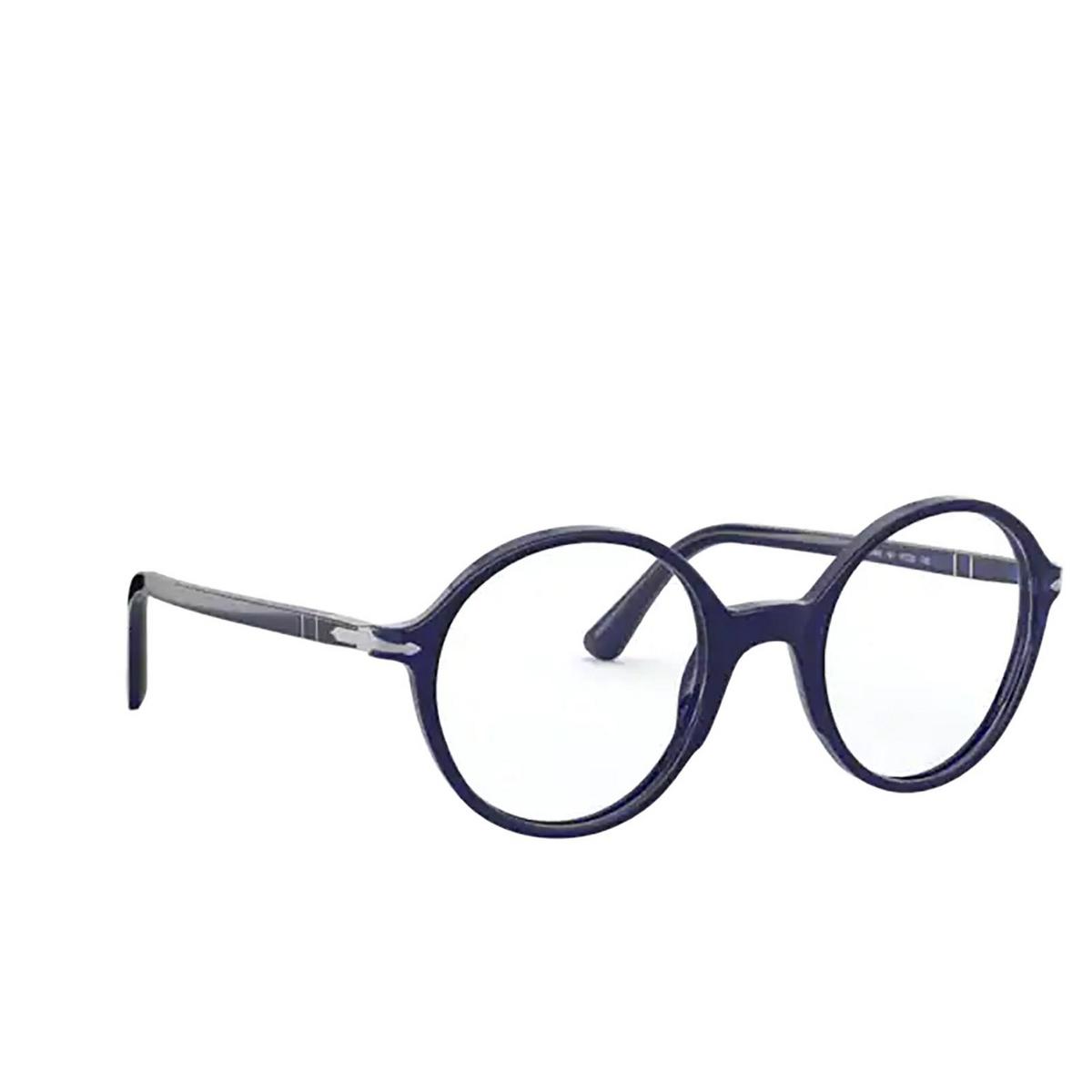 Persol® Round Eyeglasses: PO3249V color Cobalto 181 - three-quarters view.