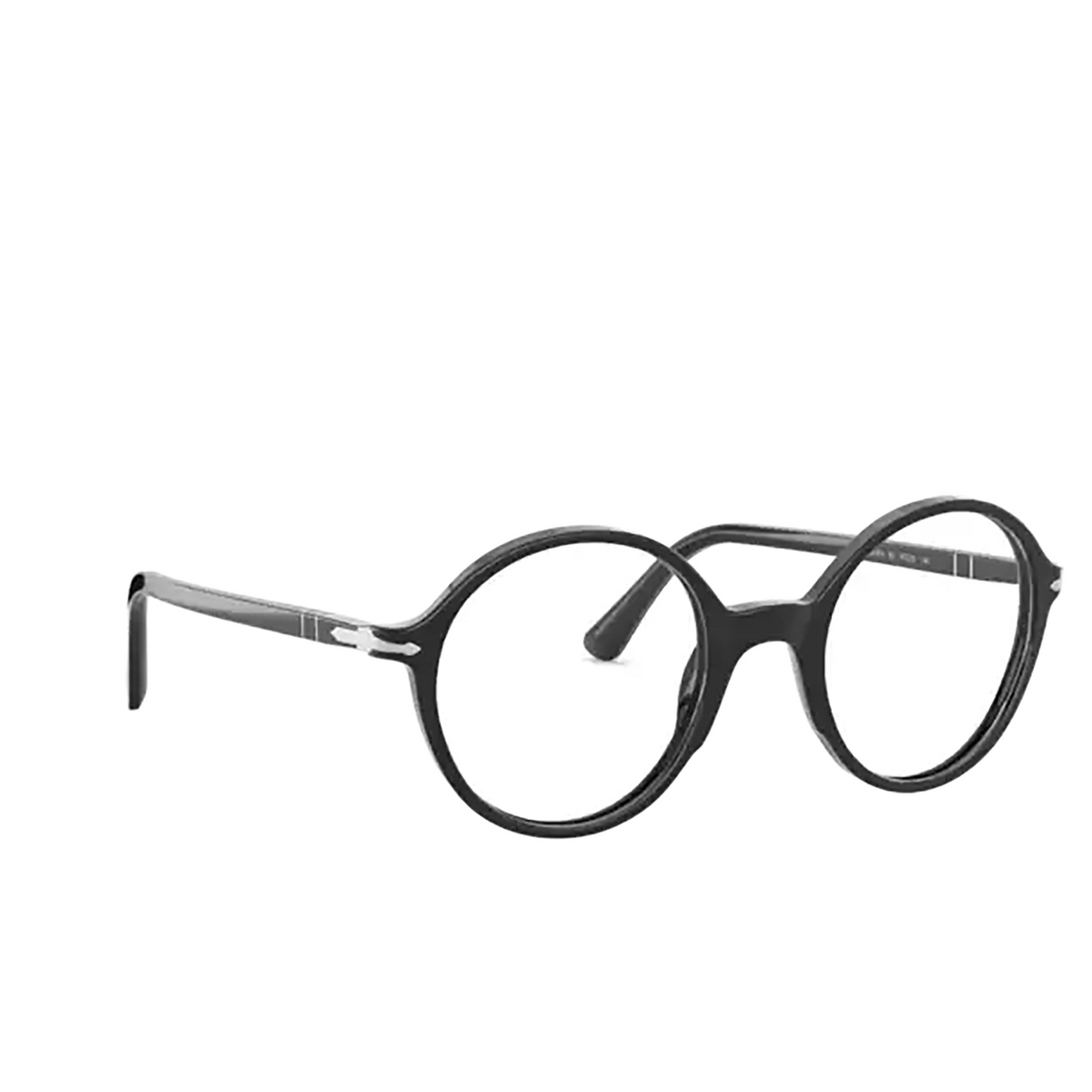 Persol® Round Eyeglasses: PO3249V color Black 95 - three-quarters view.