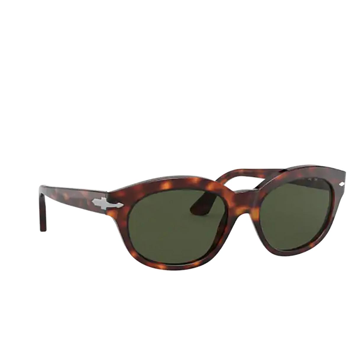 Persol® Oval Sunglasses: PO3250S color Havana 24/31 - three-quarters view.